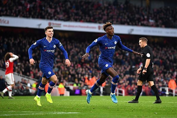 Chelsea's top goalscorer Tammy Abraham celebrates completing the comeback late on against Arsenal