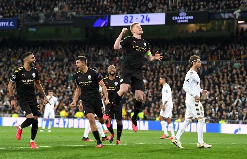 Kevin de Bruyne celebrates his penalty strike to complete the second-half comeback against Real Madrid