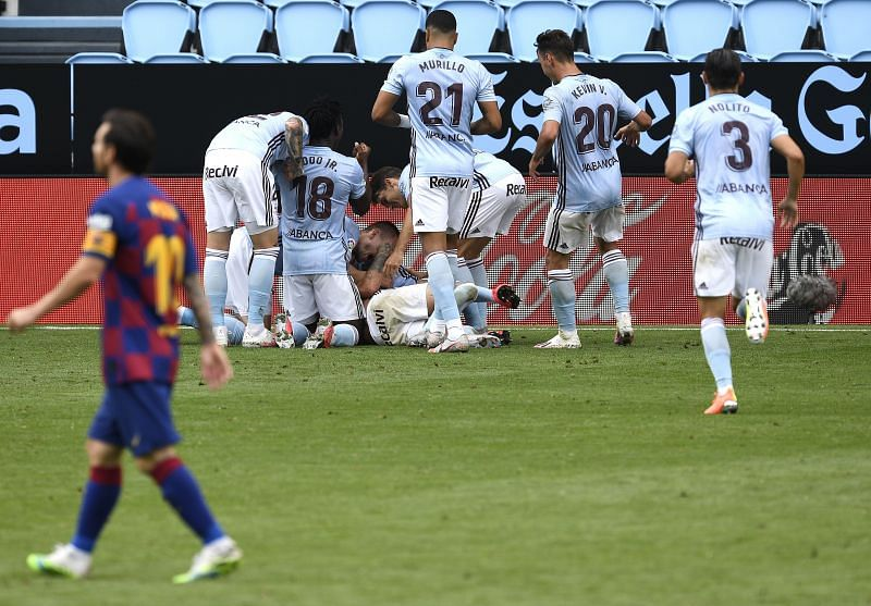Aspas' fabulous free-kick late on spoiled Barcelona's encouraging display to further denting their title hopes