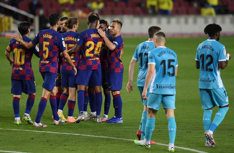 Barcelona players celebrate Ansu Fati's first-half opener, enroute to their 2-0 win over Leganes