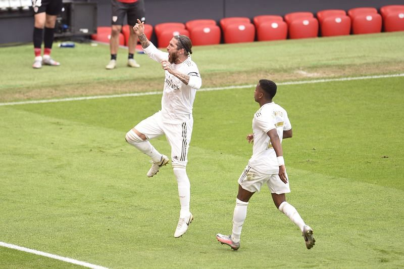 Real Madrid's Rodrygo celebrates with Ramos after his winner, just before the Brazilian was replaced