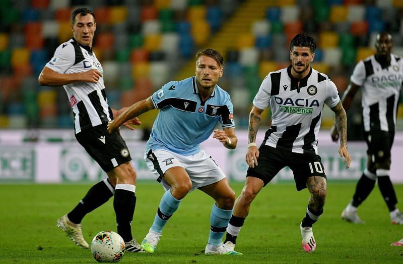 Immobile, pictured here against Udinese, was a constant menace against Juventus