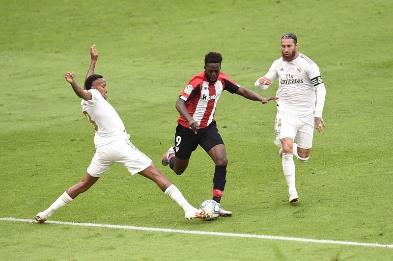 Militao was excellent defensively against Inaki Williams, who was an ever-present threat and beat Ramos