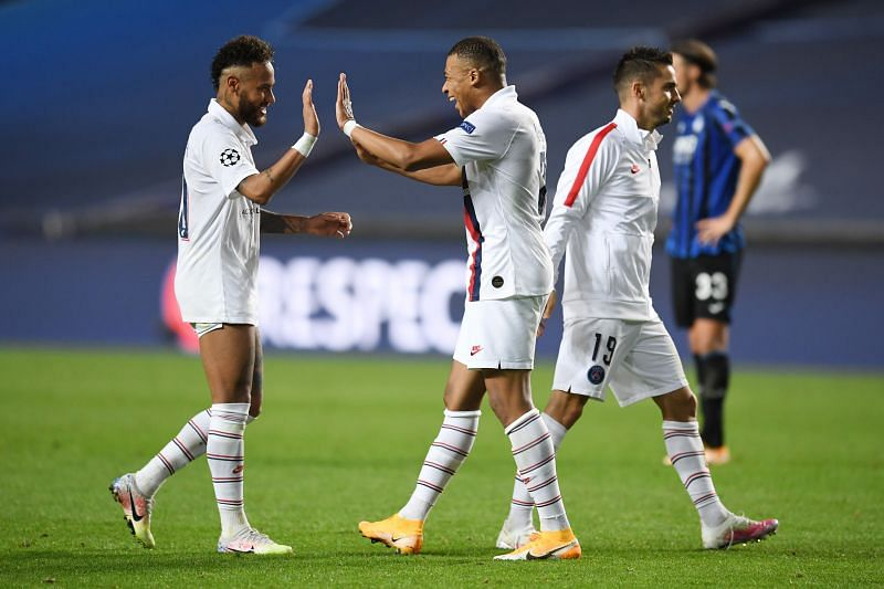 Neymar and Mbappe celebrate at the full-time whistle as PSG left it late to win 2-1 against Atalanta