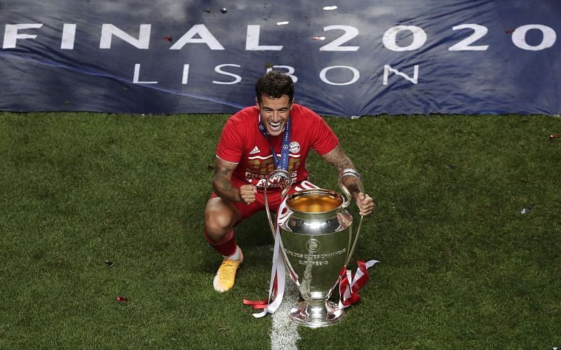 Bayern's Coutinho celebrates his first UCL trophy, having helped dump his parent club out in the quarters