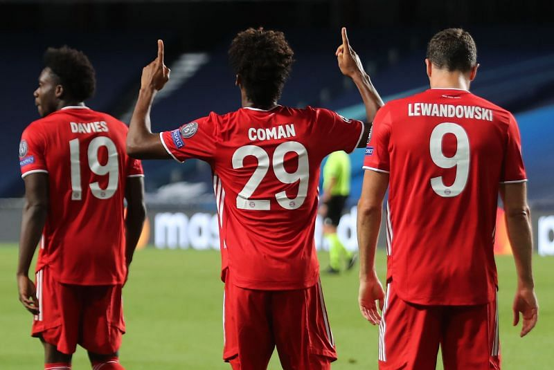 Bayern's Coman celebrates his match-winning header against the club he first joined as an eight-year-old