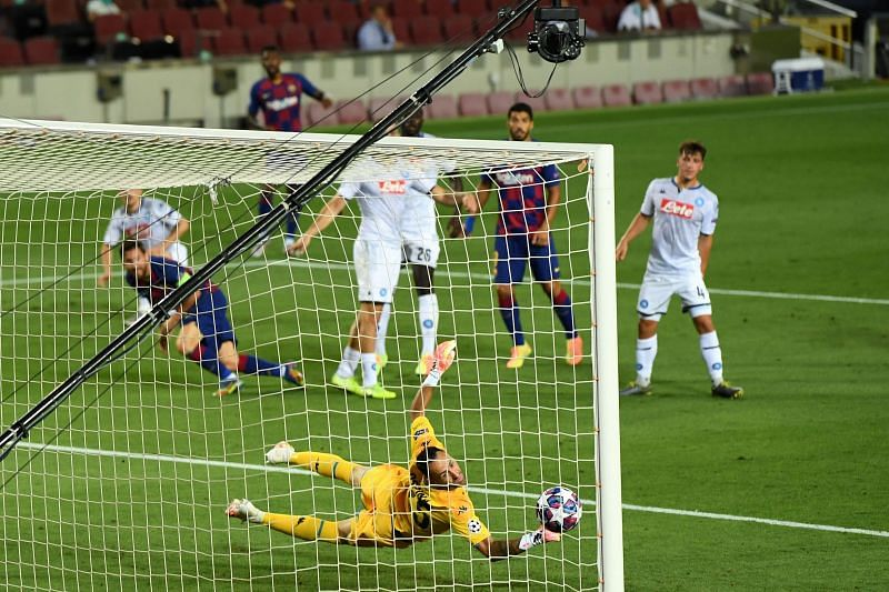 David Ospina must be tired of playing against Messi and Barcelona by now, but was largely left helpless