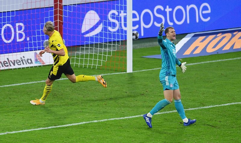 Haaland celebrates his equaliser during a game of two halves against Bayern