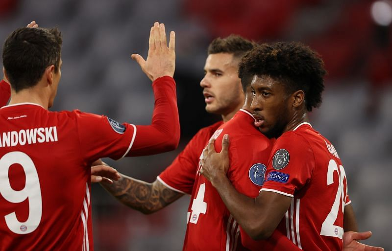 Lewandowski, Hernandez and Tolisso celebrate with Coman during his brilliant showing against Atletico