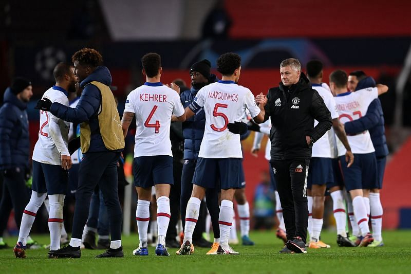 Solskjaer shakes hands with PSG players post-match after a preventable Manchester United defeat