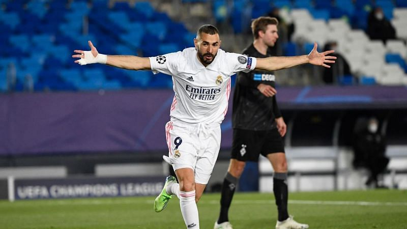 Benzema propelled Real into the knockout stages with a first-half brace on another landmark appearance