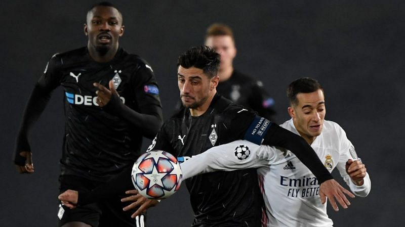 Stindl (centre) really struggled to get going against Real here (Picture: Pierre-Philippe Marcou / AFP)