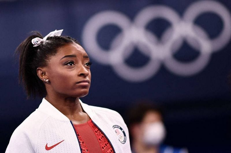 Simone reacts after her decision to withdraw from the team finals at Tokyo Olympic games