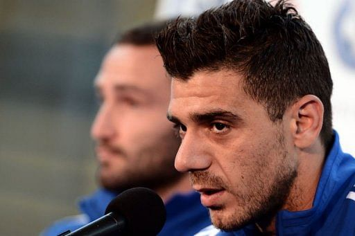 Greece's midfielder Konstantinos Katsouranis speaks during a press conference at the Municipal stadium