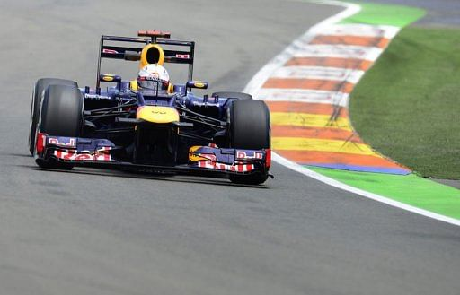 Red Bull Racing's German driver Sebastian Vettel drives at the Valencia Street Circuit