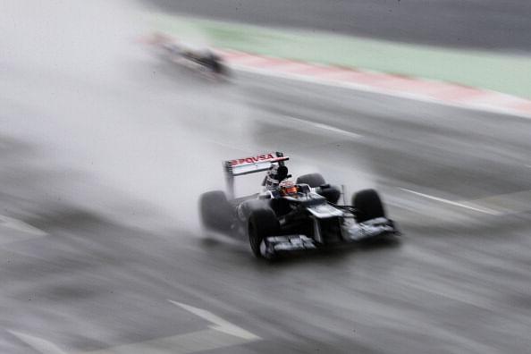 Maldonado tops second practice at wet Hockenheim