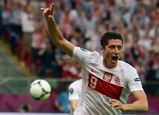 Lewandowski claimed the tournament's first goal for co-hosts Poland in their match against Greece on June 8