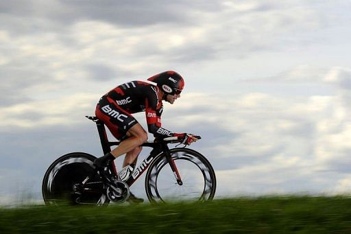 Australia's Cadel Evans competes in the individual time-trial