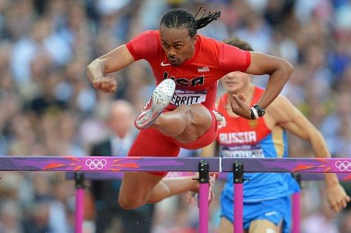 USA's Aries Merritt competes in the men's 110m hurdles semi-finals