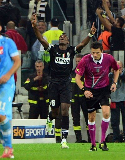 Juventus' Paul Pogba celebrates after scoring a goal