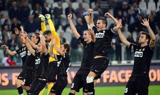 Juventus players celebrate their victory