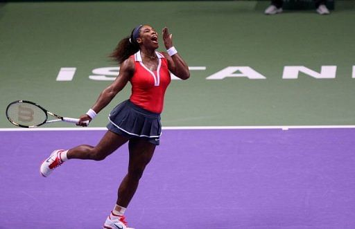 Serena Williams reacts during her match with Maria Sharapova