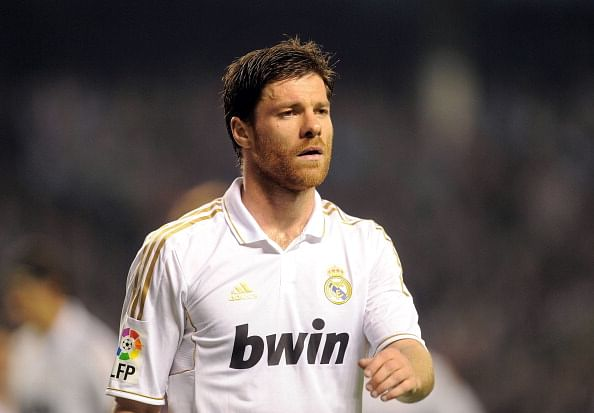 BILBAO, SPAIN - MAY 02:  Xabi Alonso of Real Madrid CF looks on during the La Liga match between Athletic Club and Real Madrid CF at estadio San Mames on May 2, 2012 in Bilbao, Spain.