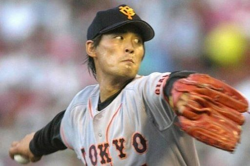 Cho Sung-Min, a former pitcher for Japanese baseball team Yomiuri Giants, pictured in August 2000