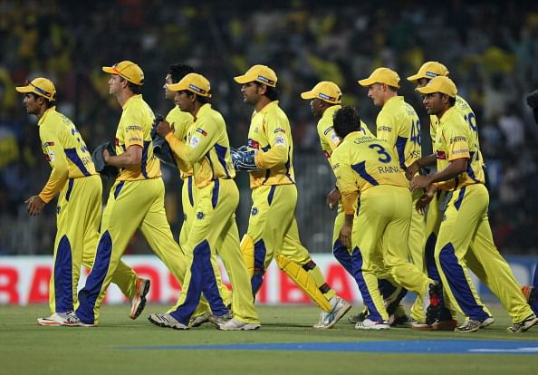 Chennai Super Kings  walk onto the field