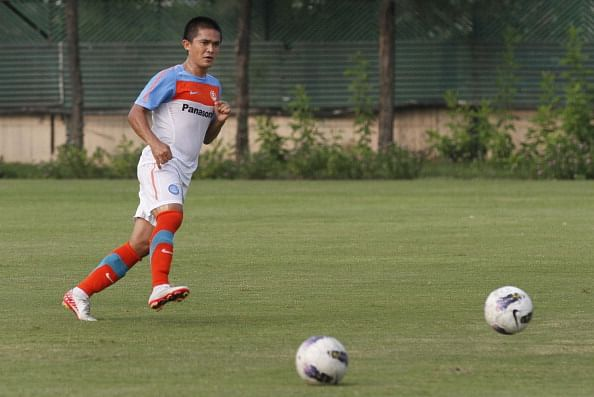 Indian footballer Sunil Chettri during a practice session
