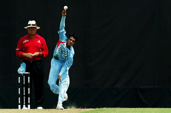 KUALA LUMPUR, MALAYSIA - FEBRUARY 24: Sidharth Kaul of India bowls against England during the ICC U/19 Cricket World Cup quarter finals match between India and England held at the Kinrara Cricket Oval on February 24, 2008 in Kuala Lumpur, Malaysia.