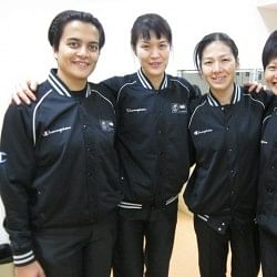 THE THIRD TEAM OF A BASKETBALL GAME: Snehal with co-referees from Korea, Chinese Taipei and Singapore at the Youth Asian Championships, China, 2011.