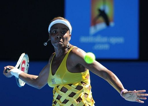 Venus Williams of the US during the Australian Open tennis tournament in Melbourne on January 19, 2011
