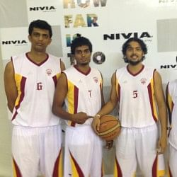 With his Karnataka teammates (from left to right) Sanjay Raj, Hrishikesh Naidu and Rajesh Uppar (far right)
