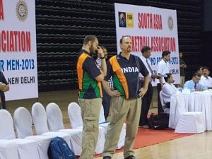 Meeting of Minds: Coach Scott Flemming (right) with Strength & Conditioning Coach Zak Penwell, during the SABA qualifiers in Delhi.