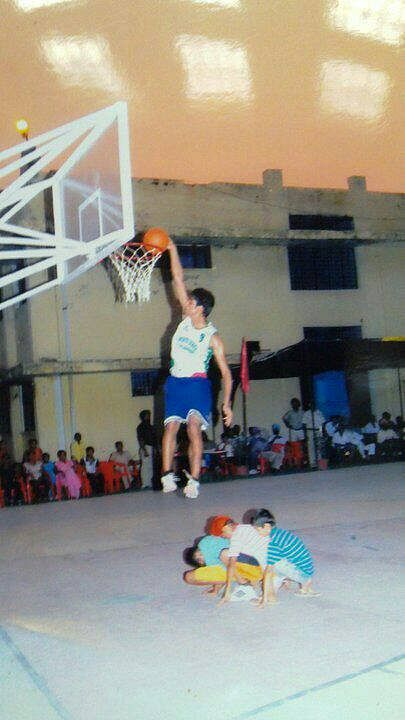 His Favourite Move: Ranbir Singh takes part in a dunk contest in his hometown of Katkapura, Punjab.