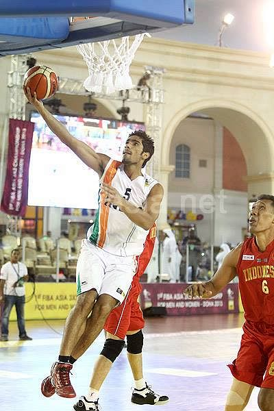 In Action against Indonesia during the FIBA Asia 3 on 3 Championships, 2013 held in Doha, Qatar