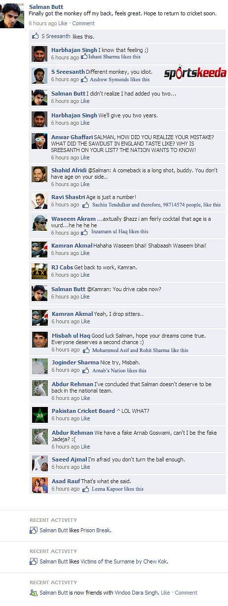 Fake FB Wall: Salman Butt after confessing about fixing