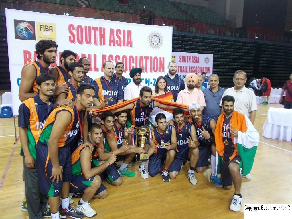 The Indian Men's squad after their victorious South Asian Basketball Association (SABA) qualifying campaign.