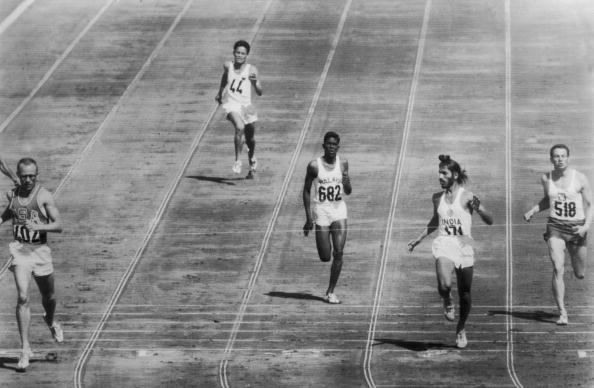 Milkha Singh (second from right), competing in the heats at the 1960 Rome Olympics