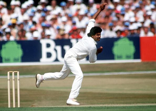Sport. Cricket. pic:18th July 1990. Texaco 1 Day International at Headingley. England beat India. Kapil Dev, India. Kapil Dev was the first genuine pace bowler India produced after partition, playing in Tests from 1978-1994, and was also a recognised big