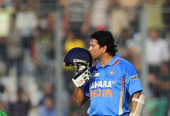 Indian batsman Sachin Tendulkar kisses h