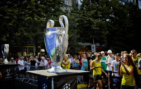 The UEFA Champions League trophy is seen displayed during the UEFA    Uefa Champions League Teams 201314