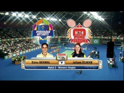 Video: World no. 3 Juliane Schenk takes on Saina Nehwal in IBL 2013