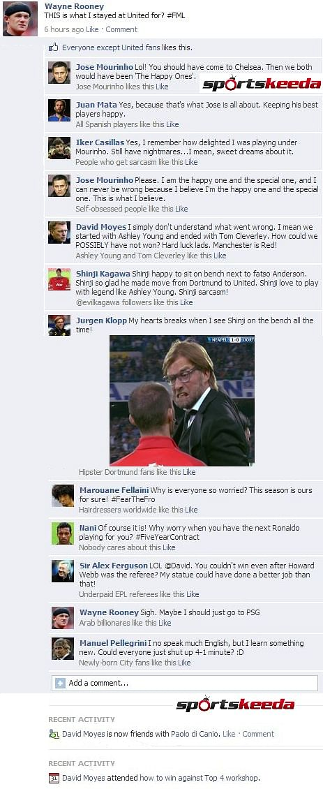 Fake FB Wall: Wayne Rooney updates his status after 4-1 defeat