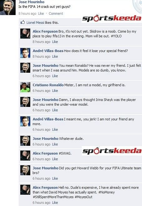 Fake FB Wall: Mourinho doesn't care, Ferguson is a FIFAPro