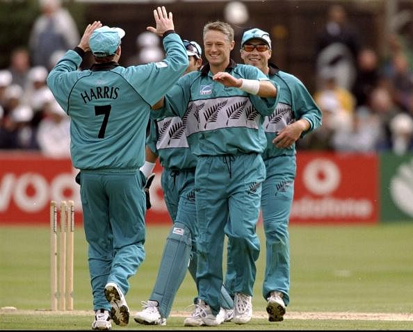Gavin Larsen celebrates taking a wicket  during the World Cup Group B match against Bangladesh in 1999. (Getty Images)