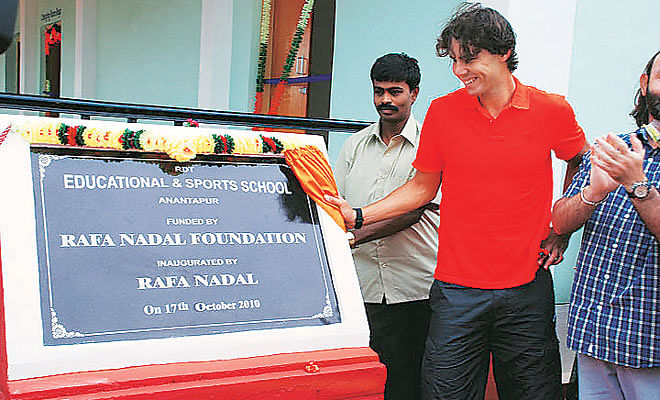 Rafael Nadal in Anantapur three years ago to inaugurate his foundation's first project on 17th October, 2010 Photo Courtesy: Indian Express