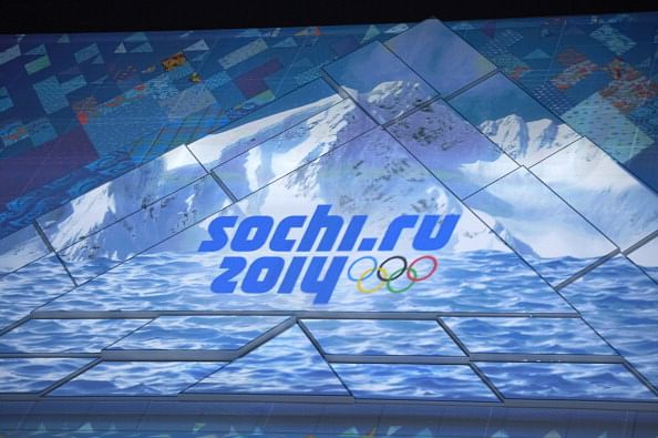 Overall view of ceremony celebrating the one-year countdown to the opening of the games at Bolshoy Ice Dome. Sochi