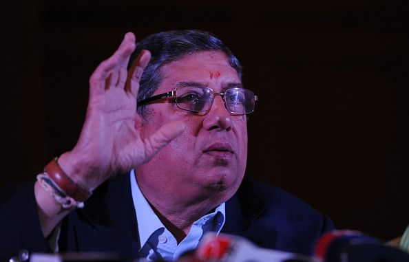 BCCI head N Srinivasan pictured during a press conference earlier this year